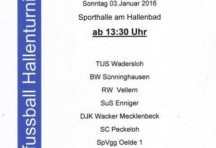 Am Sonntag den 03.01.2016 findet bereits zum 46. mal das Oelder Frauenhallenturnier statt. Dieses mal auch wieder mit einen regional hervoragendem Teilnehmerfeld. Alles weitere auf dem Plakat.